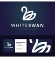 White swan logo and business card template vector image