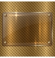 abstract glass plaque on the metal cell grid vector image vector image