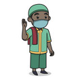 african muslim boy character wearing face mask vector image