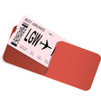 airline ticket or boarding pass in envelope vector image vector image