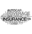 auto insurance texas text word cloud concept vector image vector image