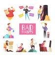 bad habits set vector image vector image
