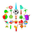 beach concert icons set cartoon style vector image vector image