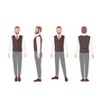 bearded man or office worker in elegant business vector image vector image