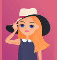 beautiful cartoon girl holding her hat character vector image