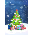 beautiful christmas tree night view over blue sky vector image vector image