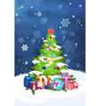 beautiful christmas tree night view over blue sky vector image