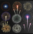 big set isolated fireworks vector image vector image