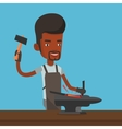 Blacksmith working metal with hammer on the anvil vector image vector image