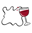 border template with red wine in glass vector image
