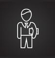 businessman thin line on black background vector image