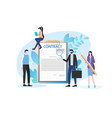 businessmen inspect document with magnifying glass vector image vector image
