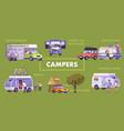 campers flat flowchart vector image vector image