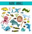 Cartoon Set of Cute sea Animals and living vector image vector image