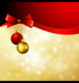 christmas background with bow and balls vector image vector image