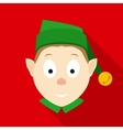 Christmas Elf Face in Flat Style with Long Shadows vector image
