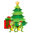 Christmas theme with two frogs and christmas tree vector image
