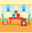 classroom kinder table chair bear teddy blocks and vector image