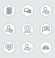 communication icons set with webpage unread vector image vector image