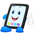Computer tablet cartoon giving thumb up vector image vector image