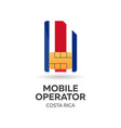 costa rica mobile operator sim card with flag vector image