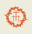 crown of thorns and three crosses vector image vector image