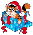 cute christmas cat vector image vector image