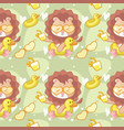 cute lion in beach seamless pattern and card vector image vector image
