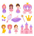 cute little princess with crown and fairy-tale vector image vector image