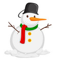 cute snowman with scarf vector image