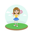 cute young girl tennis player with racket vector image vector image