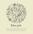 different types italian pasta concept vector image vector image