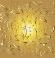 elegance floral gold line art tracery seamless vector image