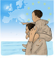 father and son immigrants in front the vector image vector image