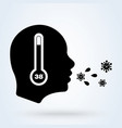 fever cough high temperature icon thermometer vector image vector image