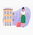 girl with travel bag hotel facade on background vector image