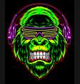 gorilla with headphones vector image vector image
