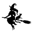 halloween witch and cat silhouette vector image vector image