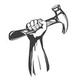 hand holding a hammer tools icon cartoon hand vector image