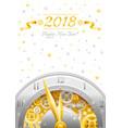 happy new year 2018 silver golden logo icon vector image