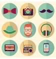 Hipster style icons set vector image vector image