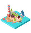 isometric lighthouse island with tower and house vector image vector image
