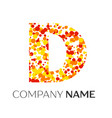 letter d logo with orange yellow red particles vector image vector image