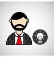 man bearded and bulb creativity icon vector image