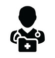 medical record icon with male doctor person vector image vector image
