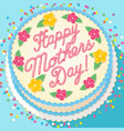 mothers day cake decorated with calligraphy vector image vector image