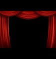 open red velvet movie curtains with black screen vector image vector image