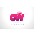 ow o w letter logo with pink purple color and vector image vector image