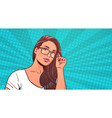 portrait of beautiful woman wearing glasses over vector image vector image