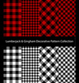 red and monochrome lumberjack gingham collection vector image